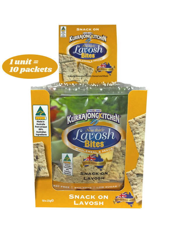 Kurrajong Kitchen Snack Packs - 10 x 25g LavoshBites™ Wholemeal & Seeds